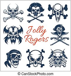 eye., ou, jogo, piratas, chapéu, tricorne, remendo, -, jovial, símbolos, experiência., vetorial, roger, branca, capitão, crânios, bandana, esqueleto