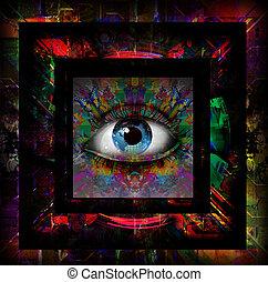 eye over futuristic background