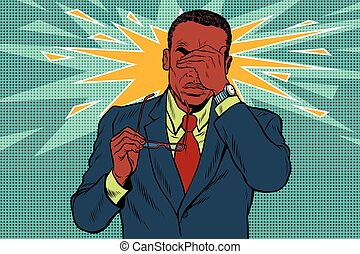 Eye pain, fatigue and poor vision. Pop art retro vector illustration. Medicine and health. Man in glasses. African American people