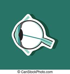 eye paper sticker on stylish background