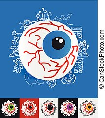 eye paper sticker with hand drawn elements - hand drawn...