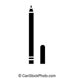 eye pencil icon, vector illustration, black sign on isolated background