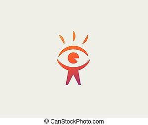 Eye people head vector logo design. Find person icon symbol. Man photo vision logotype.