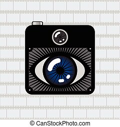 eye photo camera - Hipster Retro Style Photo Camera with eye...