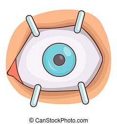 Eye procedure icon, cartoon style
