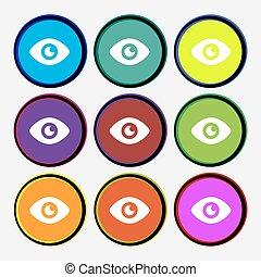 Eye, Publish content icon sign. Nine multi-colored round buttons. Vector