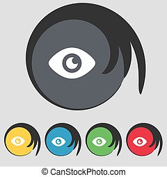 Eye, Publish content icon sign. Symbol on five colored buttons. Vector