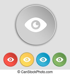 Eye, Publish content icon sign. Symbol on five flat buttons. Vector
