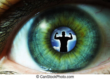 Pupil of an eye with a silhouette of a man
