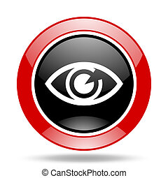 eye red and black web glossy round icon