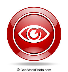 eye red web glossy round icon