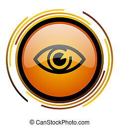 eye round design orange glossy web icon
