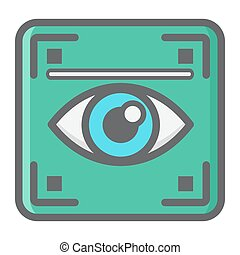 Eye scan colorful line icon, iris scanner