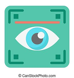 Eye scan flat icon, security and iris scanner