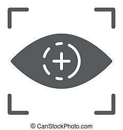 Eye scan glyph icon, access and identification, retina scan sign, vector graphics, a solid pattern on a white background.