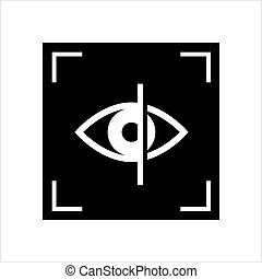 Eye Scan Icon, Retina Iris Scan Verification Vector Art...