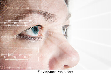 eye scan iris biometric - Iris scan, biometric scanning of...