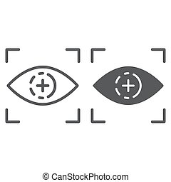 Eye scan line and glyph icon, access and identification, retina scan sign, vector graphics, a linear pattern on a white background.