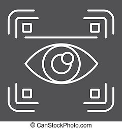 Eye scan line icon, security and iris scanner
