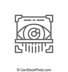 Eye scan, retina scanner, id identity line icon.