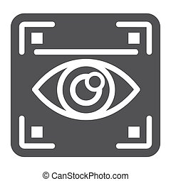 Eye scan solid icon, security and iris scanner