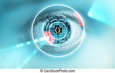 eye scan - Technology scan man's eye for security