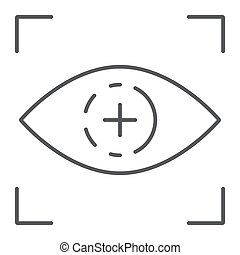Eye scan thin line icon, access and identification, retina scan sign, vector graphics, a linear pattern on a white background.