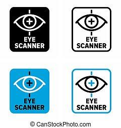 """Eye scanner"" biometric method of identification information sign"