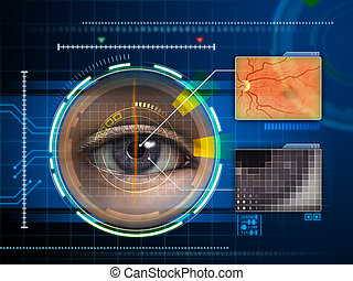 Eye scanner - Human eye being scanned by a futuristic...