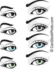Eye set 01 - illustration of vector elegant colored eye