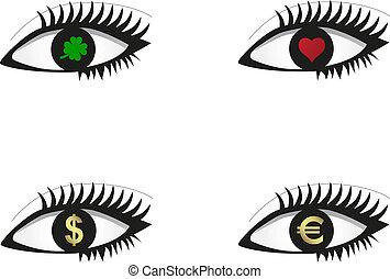 Eye set with icons