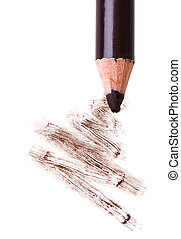 Eye shadow makeup pencil with stroke sample, isolated on white macro