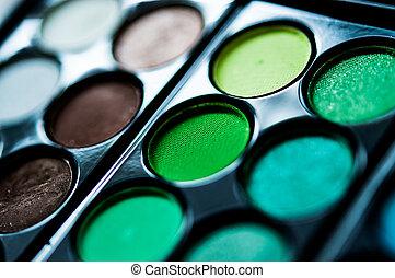 .eye-shadow, professioneel, makeup, pallet, opmaken, afsluiten, cosmetic., boven.