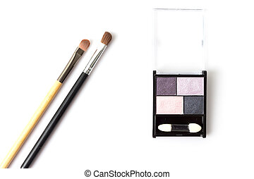 Eye shadow with brush on white background