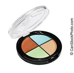Eye shadows and blush. Plastic case