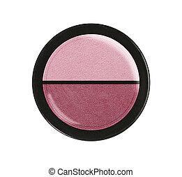 Eye shadows and blush. Plastic case.