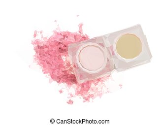 Eye shadows on white - Low poly illustration of Pink eye...