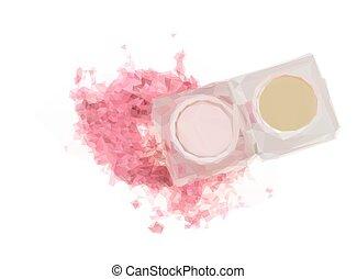 Eye shadows on white - Low poly illustration of Pink eye...