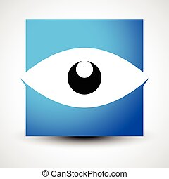 Eye shape over square - Eye icon, eye logo