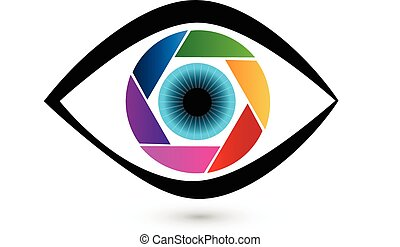 Eye shutter icon vector logo