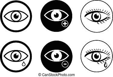 Eye sight icons set vector eps 10