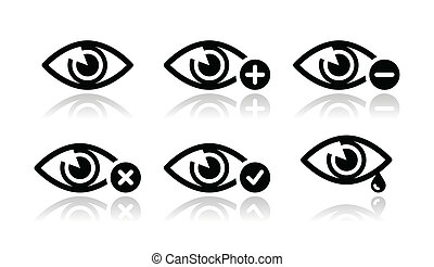 Seeing, eyes check, watching, crying modern black icons set with reflection