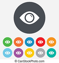 Eye sign icon. Publish content button. Visibility. Round...