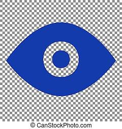 Eye sign illustration. Blue icon on transparent background.