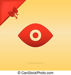 Eye sign illustration. Cristmas design red icon on gold background.