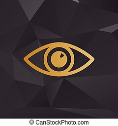 Eye sign illustration. Golden style on background with polygons.