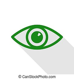Eye sign illustration. Green icon with flat style shadow path.