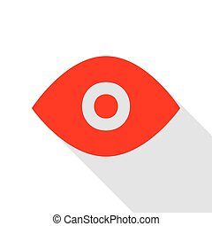 Eye sign illustration. Red icon with flat style shadow path.