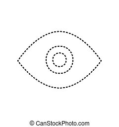 Eye sign illustration. Vector. Black dashed icon on white background. Isolated.
