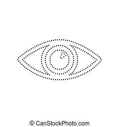 Eye sign illustration. Vector. Black dotted icon on white background. Isolated.